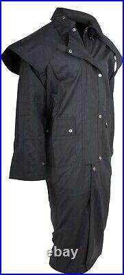 Australian Black Western Drover Duster Coat Oil Skin Cowboy S-5xl