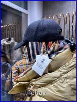BRUNELLO CUCINELLI logo baseball Cap Black 100% Wool Authentic & New