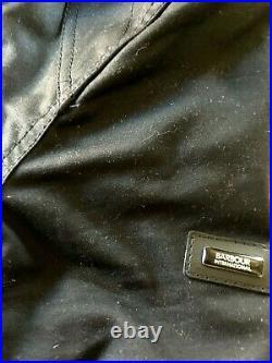 Barbour International Legion M Black Waxed England Leather Corduroy Biker Motorc