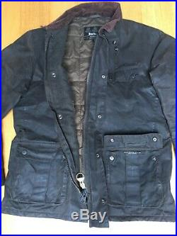 Barbour International Winter Wax Duke Mens L 46in Quilted Field Jacket GC