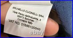 Brunello Cucinelli suede blue Jacket size 50 56 (100% Authentic&New)