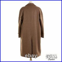 Chrysalis Brown Wool Coat L in Plaid Country Tweed Overcoat ENGLAND