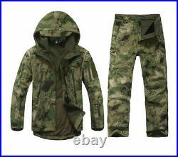 Mens Hunting Camouflage Hoodie Top Waterproof Windproof Hooded Jacket Pants Suit