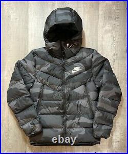 Mens Nike Sportswear Down Fill Windrunner Jacket BV4763-083 Black Camo Sz Medium