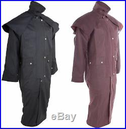 Mens Oil Cloth Oilskin Western Australian Drover Waterproof Duster Coat Jacket