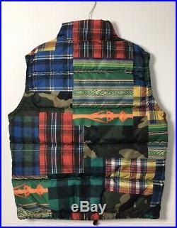 Mens Polo Ralph Lauren Southwest Military Camo USA Patchwork Down Vest Gilet