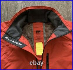NWT Mens Helly Hansen Crew Waterproof Jacket 30263-162 Red, Size L Sailing Red