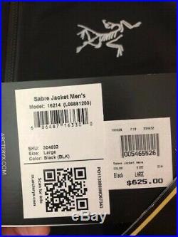 New Arc'teryx Sabre Gore-Tex RECCO Jacket Men's COLOR BLACK size LARGE MSRP $625
