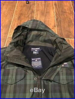 POLO SPORT RALPH LAUREN Plaid Hooded Jacket Vintage Hi Tech CP93 Stadium92 Large