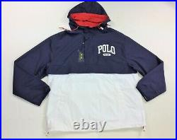 Polo Ralph Lauren Men Half Zip Navy Blue Color-Blocked Polo Logo Windbreaker