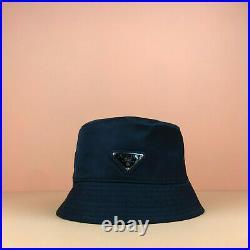 Prada Nylon Black Bucket Hat Triangle Logo Tessuto Triangolo Unisex One Size