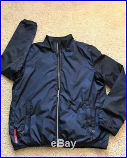 Prada Reversible Jacket Windbreaker Sweater Warm Rare Blue Size L Navy Slim Fit