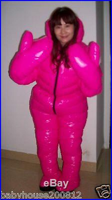 Shiny glossy nylon down suit overall winter coat expedition jacket hood wet-look