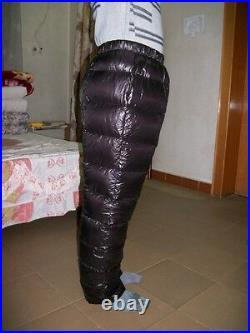 Shiny nylon wetlook down jogging trousers training pants bottom fluffy thick new