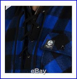 Swanndri Original Bush Shirt Lace Up Front Blue/Black Check 100% Wool