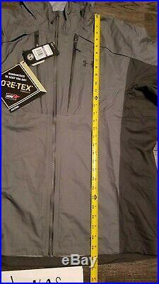 UNDER ARMOUR Gore Tex Storm Shell Jacket Grey snowboard Ski Hiking Mens 2XL XXL