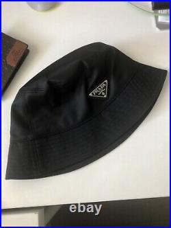 Unisex Prada Milano Technical Nylon Black Bucket Hat Triangle Logo