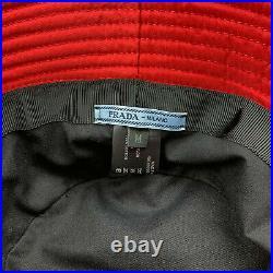 Unisex Prada Milano Technical Nylon Red Bucket Hat Triangle Logo One Size