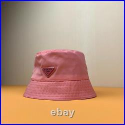 Unisex Prada Milano Tessuto Triangolo Technical Nylon Pink Bucket Hat Triangle