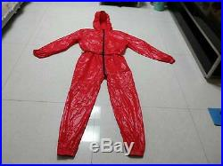 Unisex Shiny nylon Overalls Coverall Jumpsuit Set Overcoat Suit Wet-look XS-4XL