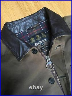 VGC Barbour Fieldspar Mens S 46in Waxed Countryside Field Jacket Leather Trim