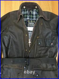 VGC Barbour Solway Zipper C38 Mens M 46in Heavyweight Waxed Jacket & Belt