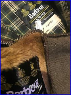 VGC Vintage Barbour Border C36 Mens S-M 46in Waxed Country Jacket & Liner
