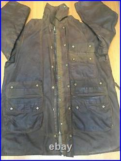 Vintage Barbour Solway Zipper C42 Mens L Wax Jacket & Liner & Unused Hood & Belt