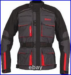 Weise Bora Mens Gunmetal Red Textile Armoured Motorcycle Jacket New