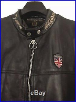 (vtg) Tommy Hilfiger Leather Biker/cafe-racer/motorcycle Jacket Black Mens XL